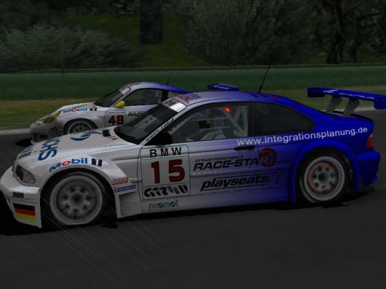 #15 Heiko Kostin (BMW M3 GTR) und #48 Patrick Schwanz (Porsche 996 GT3-RSR)